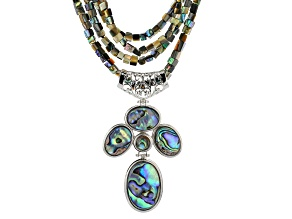 Pre-Owned Multicolor Abalone Shell Silver Necklace
