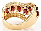 Pre-Owned Red Garnet 18K Yellow Gold Over Sterling Silver Ring 4.17ctw
