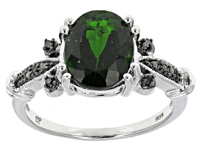 Pre-Owned Green Russian Chrome Diopside Sterling Silver Ring 2.67ctw.
