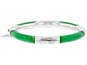 Pre-Owned Green Jadeite Sterling Silver Bangle Bracelet