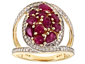 Pre-Owned White Diamond And Red Burmese Ruby 14K Yellow Gold Ring 2.65ctw