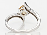 Pre-Owned Golden Hessonite Sterling Silver Bypass Ring .83ctw
