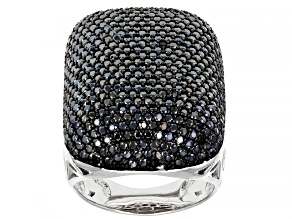 Pre-Owned Black Spinel Rhodium Over Silver Ring 4.63ctw