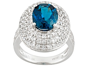 Pre-Owned London Blue And White Topaz Sterling Silver Ring 4.16ctw