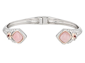 Pre-Owned Pink Opal Two-Tone Silver Cuff Bracelet .08ctw