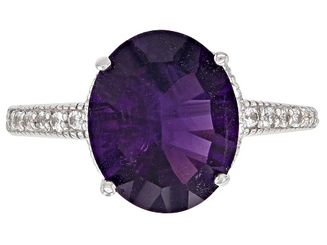 Pre-Owned Purple African amethyst rhodium over silver ring 4.20ctw