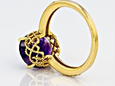 Pre-Owned Purple amethyst 18k gold over silver ring 4.34ctw