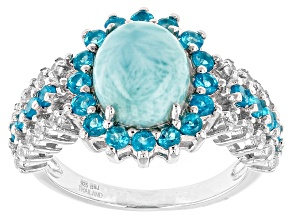 Pre-Owned Blue Larimar Sterling Silver Ring 1.16ctw