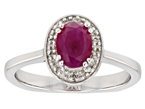 Pre-Owned Red Ruby Rhodium Over Sterling Silver Ring .82ctw