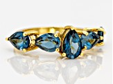 Pre-Owned London blue topaz 18k gold over silver ring 3.74ctw