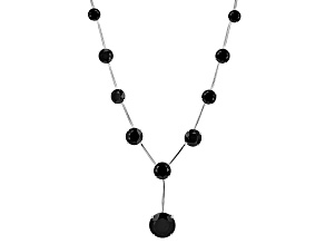 Pre-Owned Black Spinel Sterling Silver Necklace 36.54ctw
