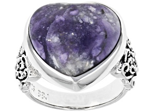 Pre-Owned Purple Morado Opal Rhodium Over Sterling Silver Ring