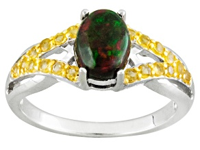 Pre-Owned Black Ethiopian Opal Sterling Silver Ring .99ctw