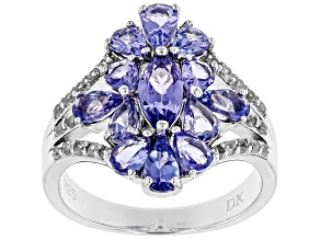 Pre-Owned Blue tanzanite rhodium over silver ring 2.29ctw