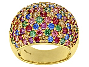 Pre-Owned Multicolor Zirconia From Swarovski ® 18K Yellow Gold Over Sterling Silver Ring 8.00ctw