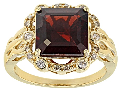Pre-Owned Red Garnet 18k Gold Over Silver Ring 4.85ctw