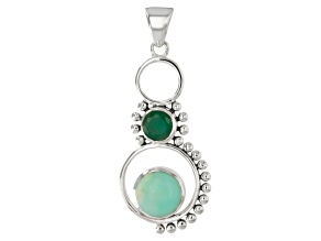 Pre-Owned Green Serbian Opal Sterling Silver Pendant .99ctw
