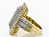 Pre-Owned White Cubic Zirconia 18K Yellow Gold Over Sterling Silver Cluster Ring 3.49ctw