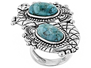 Pre-Owned Turquoise Silver Snake Ring