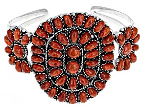 Pre-Owned Red Sponge Coral Rhodium Over Silver Cuff Bracelet