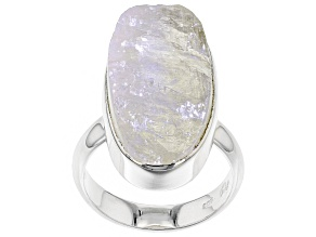 Pre-Owned White Moonstone Rough Sterling Silver Ring.