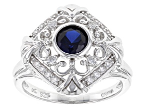 Pre-Owned Synthetic Blue Sapphire And White Cubic Zirconia Rhdoium Over Sterling Ring 1.15ctw