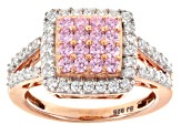 Pre-Owned Pink And White Cubic Zirconia 18k Rose Gold Over Silver Ring 2.20ctw (1.14ctw DEW)