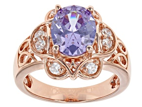 Pre-Owned Lavender And White Cubic Zirconia 18k Rose Gold Over Silver Ring 4.79ctw