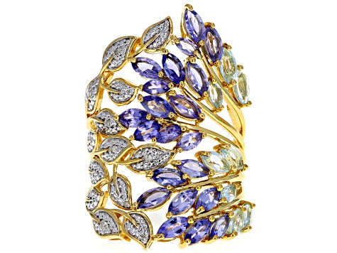 Pre-Owned Blue tanzanite 18k gold over silver ring 3.16ctw
