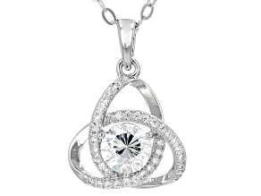 Pre-Owned White Cubic Zirconia Rhodium Over Sterling Silver Pendant With Chain 1.83ctw