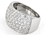 Pre-Owned White Zircon Rhodium Over Sterling Silver Band Ring 1.05ctw