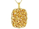 Pre-Owned Yellow citrine 18k gold over silver pendant with chain 5.97ctw