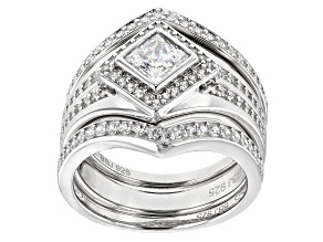 Pre-Owned White Cubic Zirconia Rhodium Over Sterling Silver Center Design Ring With Bands 2.39ctw