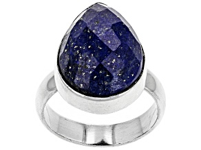 Pre-Owned Blue Lapis Lazuli Rhodium Over Sterling Silver Solitaire Ring 10/13MM