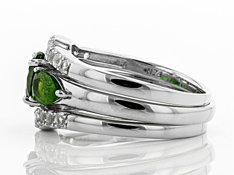 Pre-Owned Green chrome diopside rhodium over silver ring and 2 wraps 3-piece set 2.55ctw