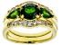 Pre-Owned Green chrome diopside 18k gold over silver ring and 2 wraps 3-piece set 2.55ctw