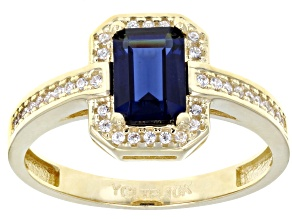 Pre-Owned blue synthetic spinel and white cubic zirconia 10k yg ring 2.13ctw