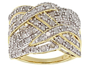 Pre-Owned White Diamond 14k Yellow Gold over Sterling Silver Ring 1.50ctw