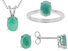 Pre-Owned Green Brazilian Emerald Rhodium Over Sterling Silver Jewelry Set 4.56ctw