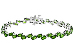 Pre-Owned Green Russian Chrome Diopside Rhodium Over Sterling Silver Bracelet 9.18ctw