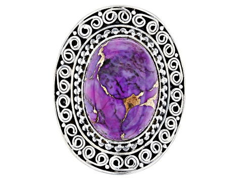 Pre-Owned Purple Turquoise Sterling Silver Ring