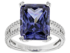 Pre-Owned Blue & White Cubic Zirconia Rhodium Over Sterling Silver Center Design Ring 12.38ctw