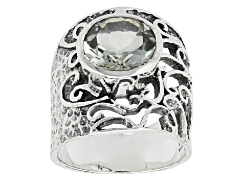 Pre-Owned Green Prasiolite Sterling Silver Ring 3.42ct
