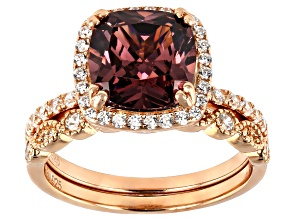 Pre-Owned Blush Zircon Simulant & White Cubic Zirconia 18K Rose Gold Over Sterling Silver Ring With