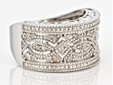 Pre-Owned White Diamond Rhodium Over Sterling Silver Ring 0.40ctw