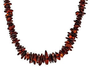 Pre-Owned Orange Amber Rhodium Over Sterling Silver Chip Necklace