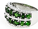 Pre-Owned Green Russian Chrome Diopside Rhodium Over Sterling Silver Band Ring 4.15ctw