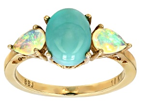 Pre-Owned Blue Turquoise 10k Yellow Gold Ring .50ctw.