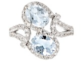 Pre-Owned Blue Brazilian Aquamarine Rhodium Over Sterling Silver Bypass Ring 3.43ctw