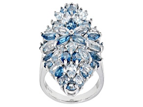Pre-Owned Blue topaz rhodium over silver ring 9.06ctw